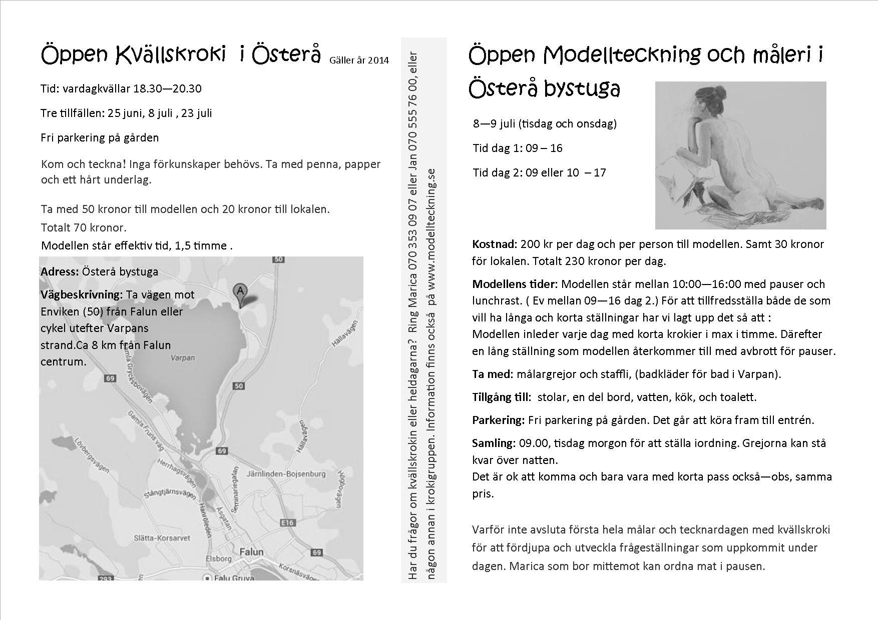 Öppen kvällskroki och modellmåleri - 2014 Program österåbystuga